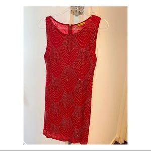 Alice + Olivia red beaded dress. Size 4